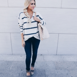 Striped Spring Sweater & The BEST Wedges