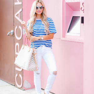 Stripes + a Pop of Pink