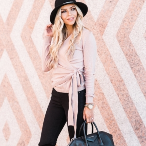 Pink Wrap Sweater